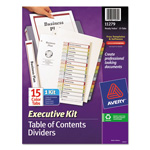 Avery Ready Index® Table of Contents Dividers Executive Kit, 15-Tab Set, Multicolor