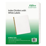 Avery Office Essentials White Label Dividers, 8-Tab, 11 x 8-1/2, White, 5 Sets/Pack