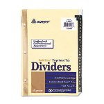 "Avery Gold Reinforced Black Leather Tab Dividers, A-Z Tabs, 5 1/2"" x 8 1/2"""