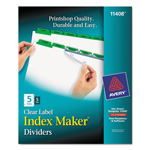 Avery Index Maker® Clear Label Dividers, Easy Apply™ Label Strip, 5-Tab, 5 Sets, Green