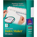 Avery Clear Dividers, 5 Tab with White Labels for Copiers, 5 Sets/Pack