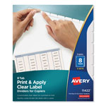 Avery Clear Dividers, 8 Tab with White Labels for Copiers, 5 Sets/Pack