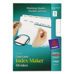 Avery Mini Index Maker® Clear Label Dividers, 5-Tab, 1 Set, White