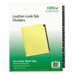 Avery Office Essentials Printed Tab Index Divider Set, 12-Tab, Months, Black, 12/Set