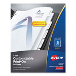 Avery 5 Tab Print-On Dividers, 3 Hole Punched, White