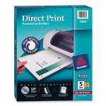 Avery Direct Print® Dividers, 5-Tab, 24 Sets, White