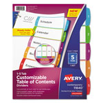 Avery Ready Index Table of Contents Dividers, Multicolor Tabs, 1-5, Letter