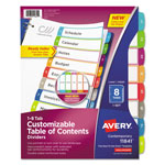 Avery Ready Index Table of Contents Dividers, Multicolor Tabs, 1-8, Letter