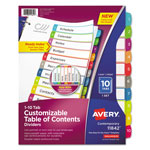 Avery Ready Index Table of Contents Dividers, Multicolor Tabs, 1-10, Letter