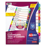 Avery Ready Index Table of Contents Dividers, Multicolor Tabs, 1-12, Letter