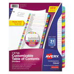 Avery Ready Index Table of Contents Dividers, Multicolor Tabs, 1-31, Letter