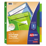 Avery Big Tab Two-Pocket Insertable Plastic Dividers, 5-Tab Set, Multicolor