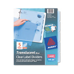 Avery Index Maker® Translucent Clear Label Dividers, 5-Tab, 5 Sets, Blue
