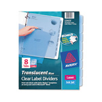Avery Index Maker® Translucent Clear Label Dividers, 8-Tab, 5 Sets, Blue, Blue