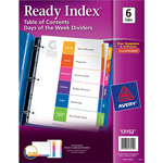 Avery Tab Dividers, 6/Tabs, Day/WK MON-SAT/SUN, Multi