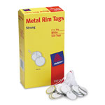 "Avery Metal Rim White Marking Tags, Strung with White Twine, 1 1/4"" meter, 500 per Pack"