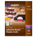 "Avery Round Display Cards, Adhesive, 3-3/4"" x 3-3/4"", 4/Sht, 40/PK, WE"
