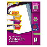 "Avery Write-On Dividers, Top Tab, 11""x8 1/2"", 3-Tab, Assorted Colors"
