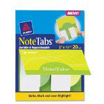 "Avery NoteTabs File Tab, 2""x1 1/2"", Citrus Yellow Green Tabs, 20 per Pack"