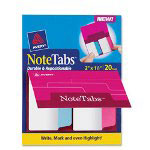 Avery NoteTabs-Notes, Tabs And Flags In One, Neon Blue/Magenta/Yellow, 25 per Pack