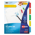 Avery Dividers with Movable Tabs, 5-Tab, Multicolor Tabs, 11 x 8 1/2