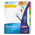 Avery Dividers with Movable Tabs, 8-Tab, Multicolor Tabs, 11 x 8 1/2