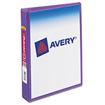 "Avery Durable View Binder with Round Rings, 5 1/2 x 8 1/2, 1"", Purple"