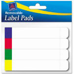 "Avery Removable Label Pads, 2/3""x3 7/16"", White with Assorted Color Bars, 160 per Pack"