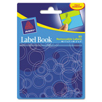 "Avery Label Book, Circles, 80 per Pack, 1""x3"", Neon Green, 2""x3"" Neon Blue"