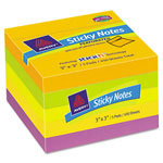 Avery Perforated Sticky Notes, 3 x 3, 90 Sheets, Citrus, 5/Pack