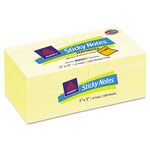 Avery Perforated Sticky Notes, 3 x 3, 90 Sheets, Pastel Yellow, 12/Pack