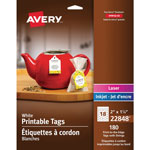 "Avery Printable Tags, Scalloped, w/Strings, 2"" x 1-1/4"", 180/PK, WE"