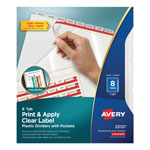 Avery Plastic Dividers w/ Pockets, 8/Tabs, Clear