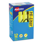 Avery Fluorescent Desk Style Highlighter, Fluorescent Yellow Ink