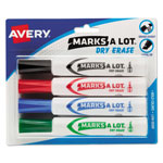 Avery Marks-A-Lot® Chisel Tip Whiteboard Marker, Four Color Set