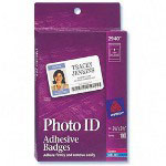 "Avery White Self-Adhesive Photo ID Badge Labels, 2 1/4"" x 3 1/2"""