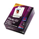 "Avery 3 1/2"" x 2 1/4"" Fold & Clip Two-Sided Portrait Name Badges"