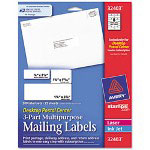 Avery Desktop Postal Center 3-Part Mailing Labels, Three sizes, White, 200 per Pack