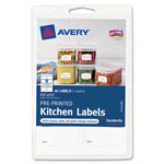 "Avery Pre-Printed Kitchen Labels 41453, Green Border, 1-3/4"" x 1-1/4"", Pack of 40"