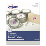 "Avery Printable Self-Adhesive Permanent 3/4"" Round Id Labels, 3/4""dia., Clear, 400/pk"