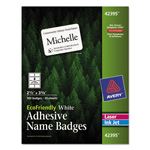 "Avery Self Adhesive Eco Friendly Name Badge Labels, 2 1/3""x3 3/8"", White, 160 per Pack"