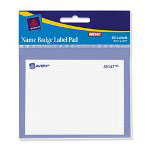 "Avery Name Badge Label Pad, 2 7/16""x3 3/8"", 40 Labels, White"