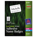 "Avery White Name Badge Labels, 2 1/3"" x 3 3/8"""