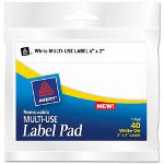 "Avery Removable Label Pads, 2""x4"", White, 40 per Pack"