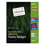 "Avery Eco-friendly Name Badge Labels, 2 1/3""x3 3/8"", White, 80 per Pack"