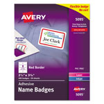 "Avery Self Adhesive Laser/Ink Jet Name Badge Labels, 2 1/3x3 3/8"", Red Border, 400 per Pack"