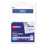 "Avery Self Adhesive Name Badges, "" Hello, "" Blue, 2 1/4 x 3 3/8, 100 Badges/Pack"