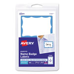 "Avery Self Adhesive Name Badges, Blue Border, 2 1/4""x3 3/8"", 100 Badges per Pack"