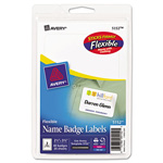 Avery Flexible Self-Adhesive Laser/Inkjet Name Badge Labels, 2-1/3 x 3-3/8, White