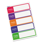 "Avery ""Hello"" Flexible Self-Adhesive Name Badge Labels, 1 x 3-3/4, Bright Asst, 100/Pk"
